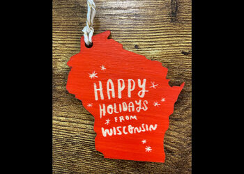 This is a picture of a handcrafted Wisconsin ornament, offered by Fromagination.